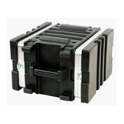 Flightcase kunststof, 19 inch rack, 6 HE, zwart, 2 deksels