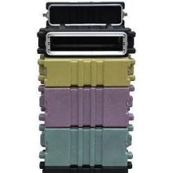 Flightcase kunststof, 19 inch rack, 2 HE, deep purple, 2 deksels