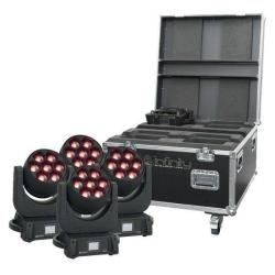4 x Infinity iW-740 RDM Moving Head Washer in flightcase