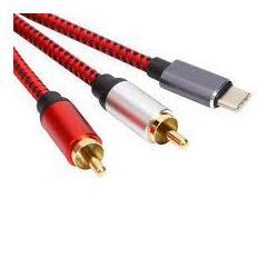 1 x USB-C male naar 2 x RCA...